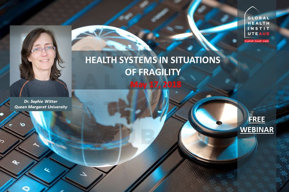 Image of a smiling woman overlaying and image of a globe and stethoscope on a keyboard, with the words 'Health systems in fragile situations'