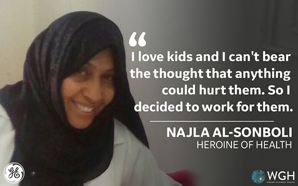 "A smiling woman in black hijab with the words ""I love kids and I cant bear the thought that anythin could hurt them. So I decided to work for them"". Najla Al-Sonboli"