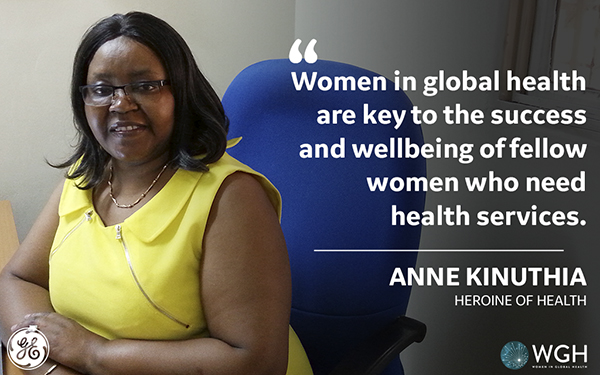 "A smiling African woman in a yellow dress with the words ""Women in global health are key to the success and wellbeing of fellow women who need health serivices"" Anne Kinuthia"